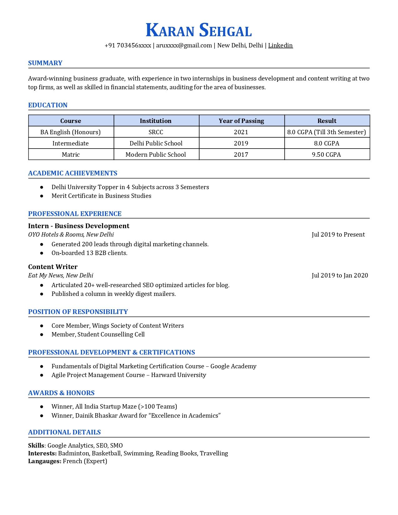 graduate resume sample  cv owl