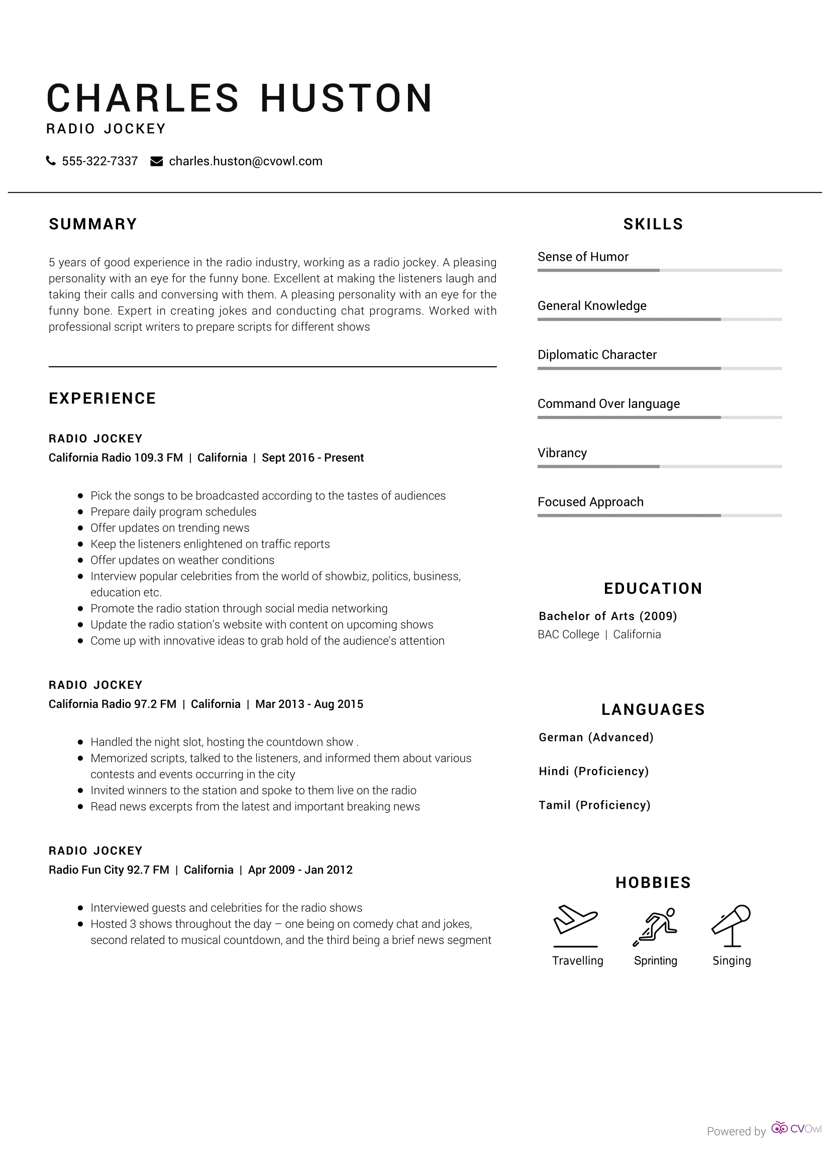 Radio Jockey Resume Sample Cv Owl